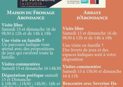Abondance Programme JEP 2018 avec les Guides du Patrimoine Savoie Mont Blanc