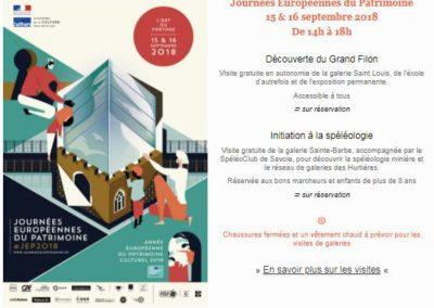 Le Grand Filon Site minier Pays des Hurtières JEP 2018 Guides PSMB et Spéléo-Club de Savoie