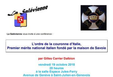 Conférence l'Ordre de la couronne d'Italie par Gilles Carrier Dalbion Guide du Patrimoine Savoie Mont Blanc