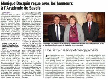 Monique Dacquin reçue à l'Académie de Savoie janv 2019 présidente Guides du Patrimoine Savoie Mont Blanc