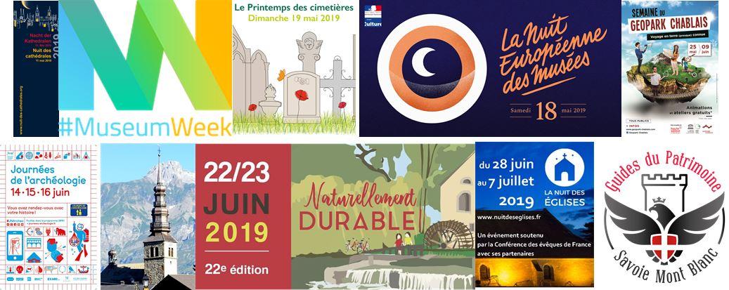 photomontage animations printemps 2019 Guides du Patrimoine Savoie Mont Blanc